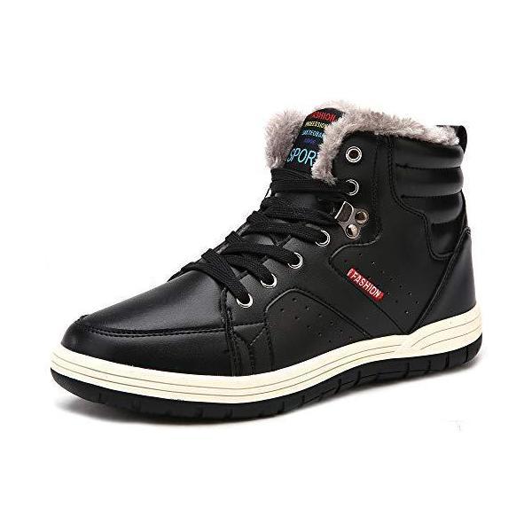 SIXSPACE スノーブーツメンズ防水防寒靴スノーシューズ防滑アウトドアシューズウィンターブーツ綿雪靴滑り止めブラック26