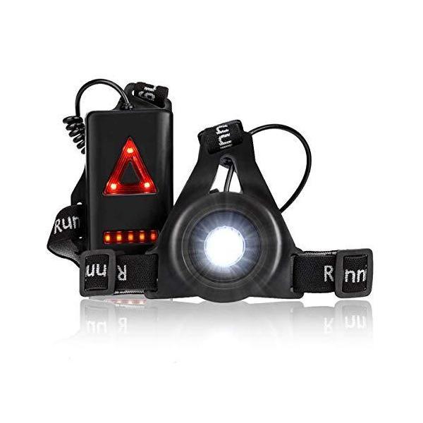 LEDランニングライトジョギングライト超軽量250ルーメンUSB充電IPX4防水3段階点灯モード警告灯反射バックルランニングジョ