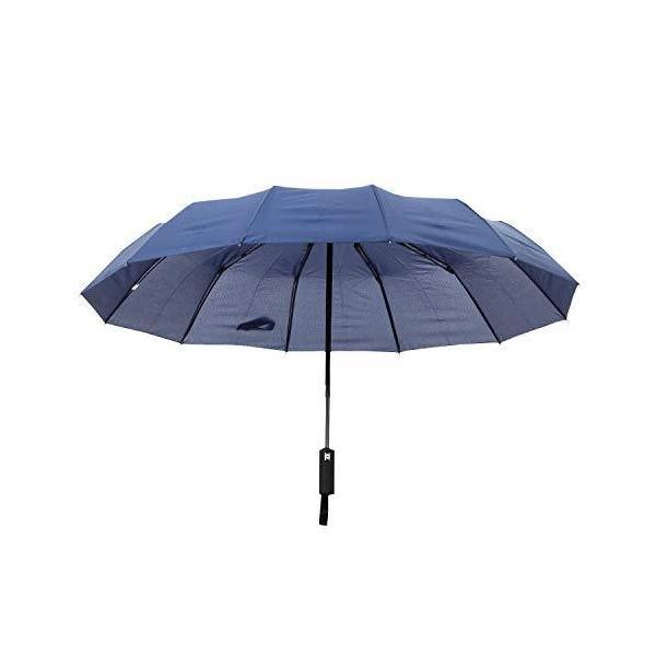 Coottie 圧倒的大きさ120cm12本骨折りたたみ傘折りたたみ傘自動開閉軽量収納ポーチ付き(ネイビー)