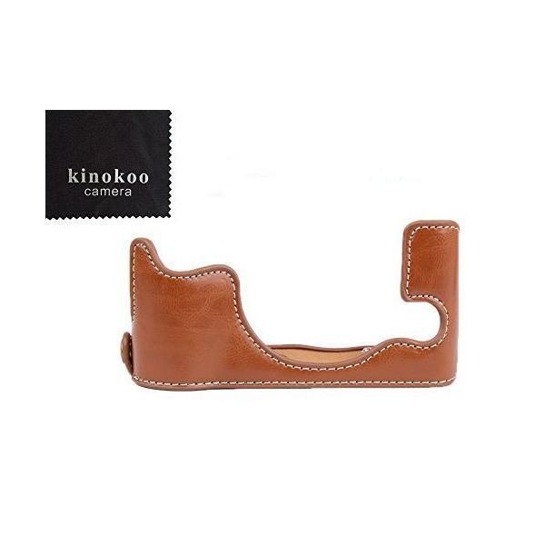 kinokoo FUJIFILM フジフイルム X30 専用 PUレザー カメラボディケースバッテリーの交換でき 標識クロス付き(ブラウン)