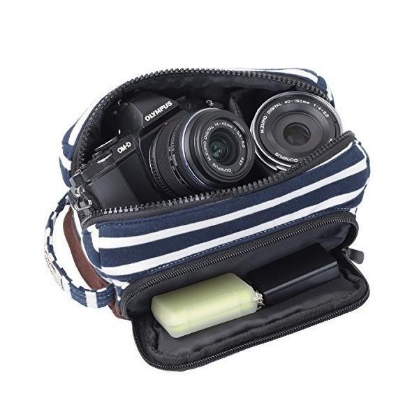 エツミ ビデオカメラケース ヌーボーナタリーM ボーダーネイビー E-3487