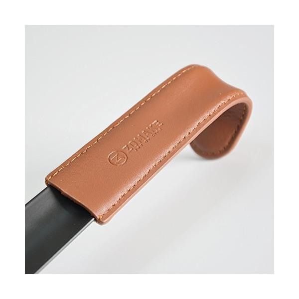 ZOMAKEダークステンレススチール製 ロング靴べら(革ストラップ付き) 41cm