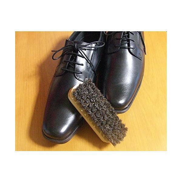 《ブラッシングで美しく》靴磨き 馬毛100%ブラシ