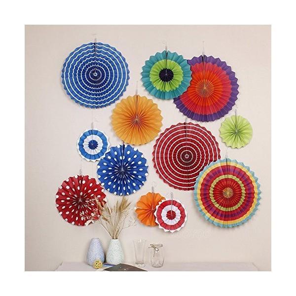 BeiLan ペーパーファン 飾り付けセット 12点セット ペーパーガーランド パーティー 誕生日 結婚式 扇子の組み合わせ 装飾 ペーパーデコレー|mekoda-store|02