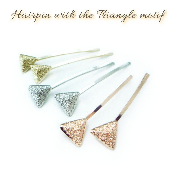 ヘアピン メタリックトライアングルモチーフヘアピン(2個セット) 三角形 金色 ゴールド 銀色 シルバー プチプラ プレゼント