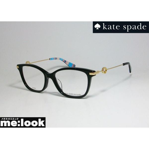 kate spade ケイトスペード レディース クラシック ボストン 眼鏡 メガネ フレーム EVERETTA/F-807 サイズ52 度付可 ブラック ゴールド