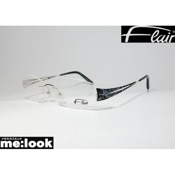 FLAIR フレアー 眼鏡 メガネ フレーム 軽量 メガネ フレーム FLAIR158-753 サイズ51 度付可 シルバー ブラック 縁なし