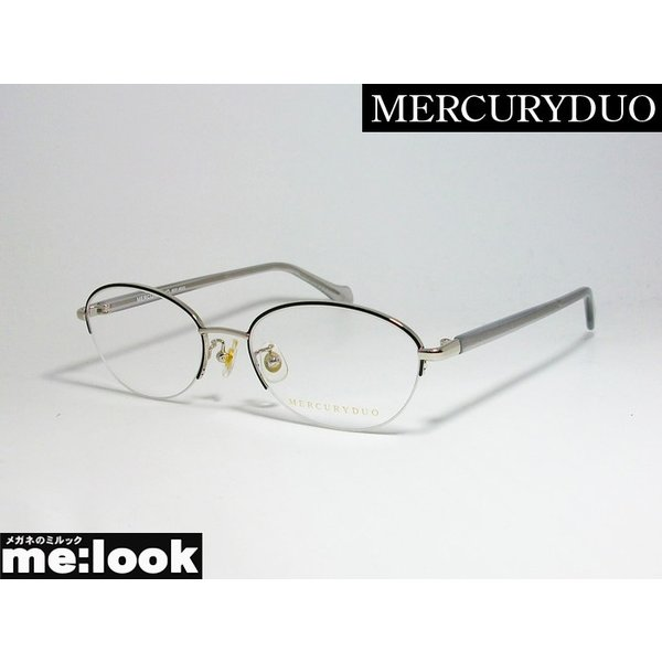 MERCURYDUO マーキュリーデュオ レディース ラウンド クラシック 眼鏡 メガネ フレーム MDF6023-1 サイズ51 度付可 トップブラック シルバー