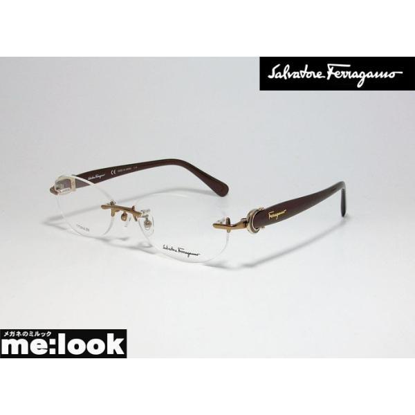 FERRAGAMO フェラガモ レディース ポイント 眼鏡 メガネ フレーム SF2531A-705-53 度付可 ブラウン 縁無し