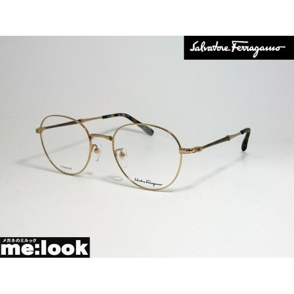 FERRAGAMO フェラガモ レディース ラウンド ボストン 眼鏡 メガネ フレーム SF2550A-717-51 度付可 ゴールド