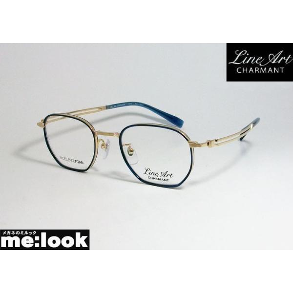 Line Art ラインアート 眼鏡 メガネ フレーム 最高のかけ心地 形状記憶 XL1806-BL-49 度付可 ブルー ゴールド