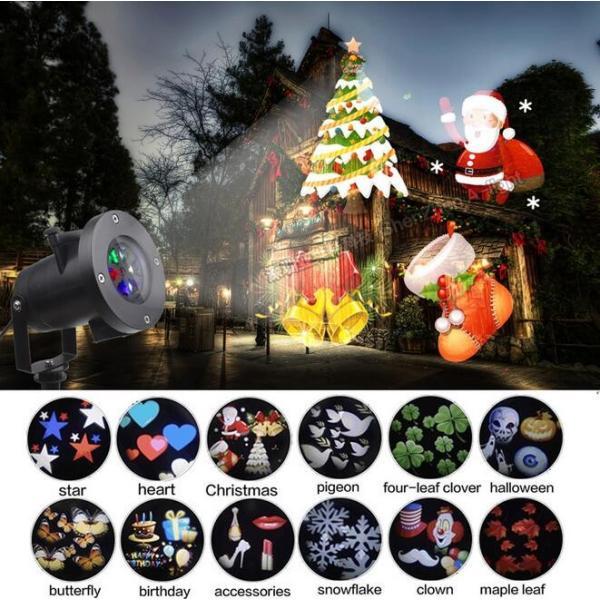 レーザーランプ クリスマス ハロウィン イルミネーション 芝生室外庭用投影ライト 12種パターン交換可能 LEDランプ ステージランプ 照明 雰囲気 防水投影ランプ|melville|03