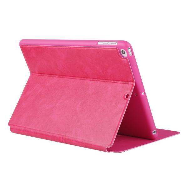 iPad 2017 レザーケース ローズ 液晶保護フィルム付き アイパッド2017 カバー 手帳型 スタンド機能 ICカードスロット|memon-leather|02