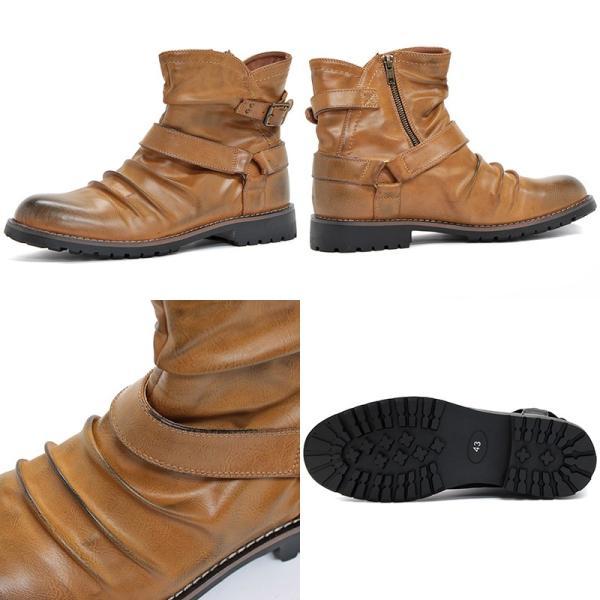 メンズ ブーツ エンジニア サイドジップ リング ベルト ドレープ カジュアル シューズ 靴 ショートブーツ スウェード 対象商品2足の購入で8000円(税別)|mens-sanei|04