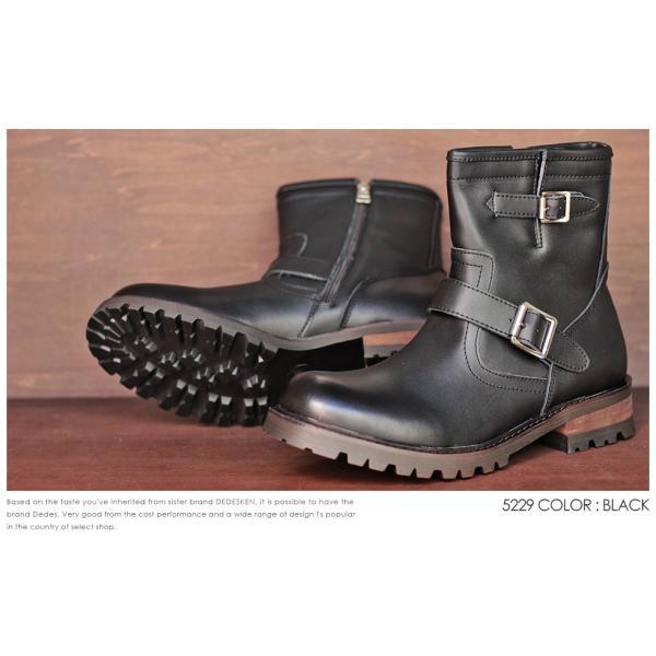 エンジニアブーツ 本革 スウェード レザー サイドジップ ダブルベルト 滑りにくい 防滑 タンクソール  メンズ 靴 シューズ カジュアル|mens-sanei|04