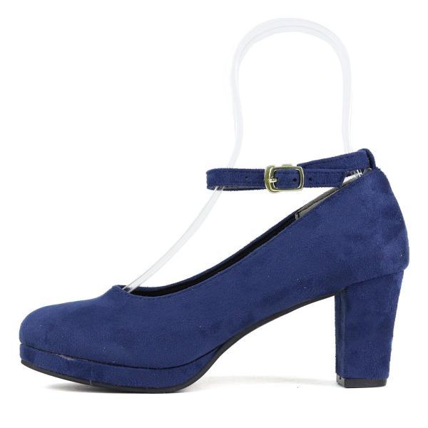 6.5cm チャンキー ヒール ストラップ パンプス ラウンドトゥ スエード シンプル 6色 5487 レディース 靴 シューズ 対象品2足で4000円 リバティドール