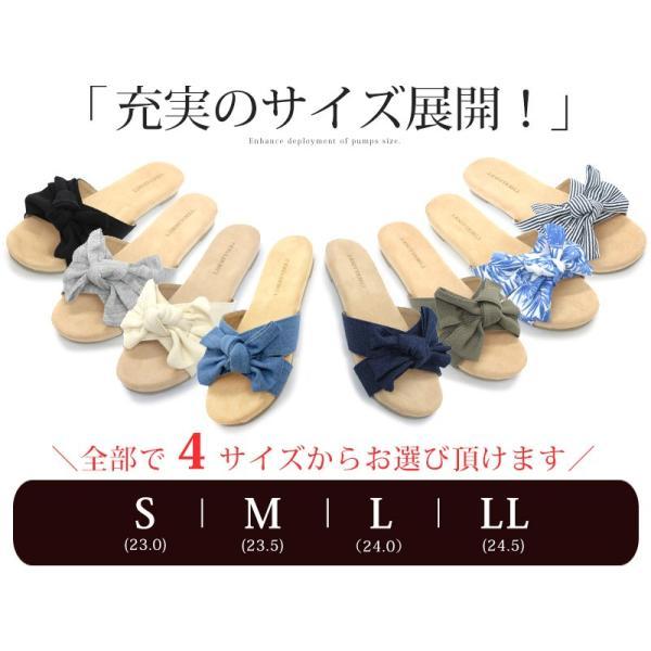 リボン フラット サンダル 低反発 クッション ふんわり ぺたんこ 花柄 ヒッコリー デニム スウェット キャンバス 全15色 5555 レディース 婦人 靴 シューズ|mens-sanei|14