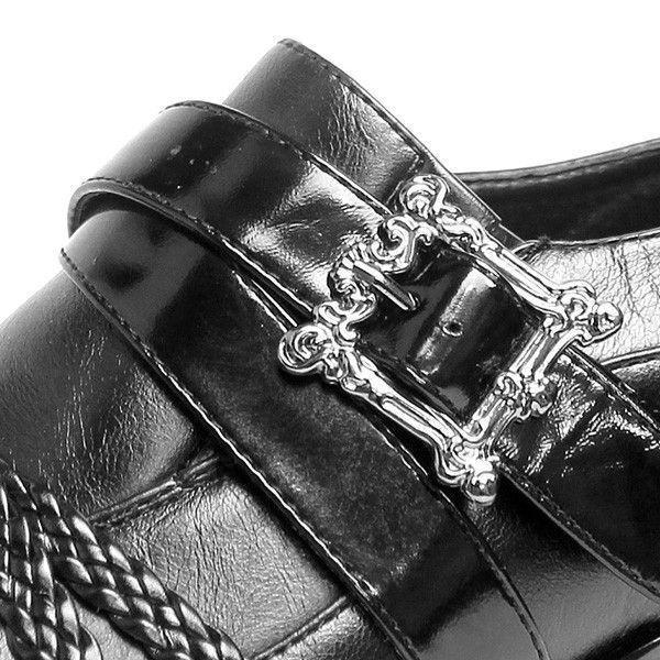 ボアダム 編み込み クロスベルト ポインテッド シューズ お兄系 メンナク系 紳士 靴 パーティー 黒 白 ブラック ホワイト|mens-sanei|05