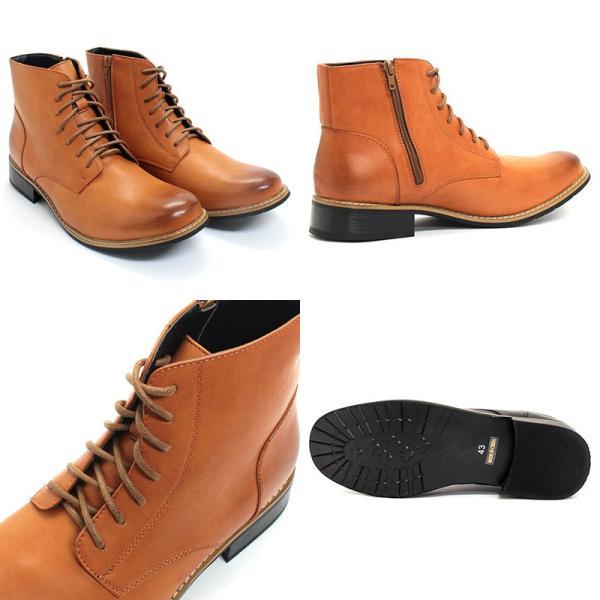 プレーン トゥ 7 アイレット サイドジップ ブーツ デデス 6色展開 スマート 大人靴 メンズ 靴 カジュアル シューズ レザー ショートブーツ 2足8000円セット対象|mens-sanei|03