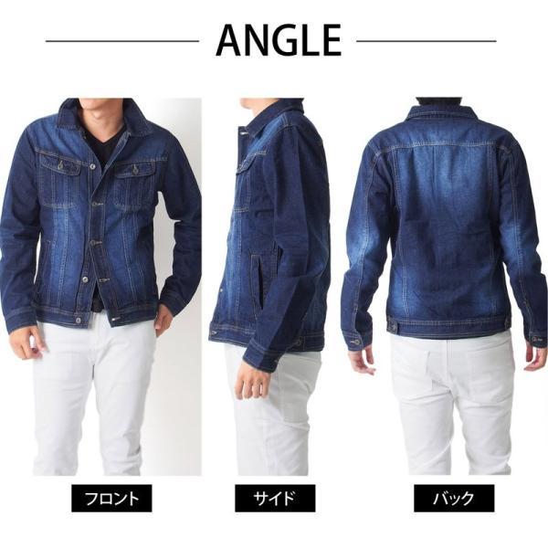 デニムジャケット メンズ Gジャン ジージャン ブルゾン ビンテージ加工 ユーズド加工 アウター|menscasual|14