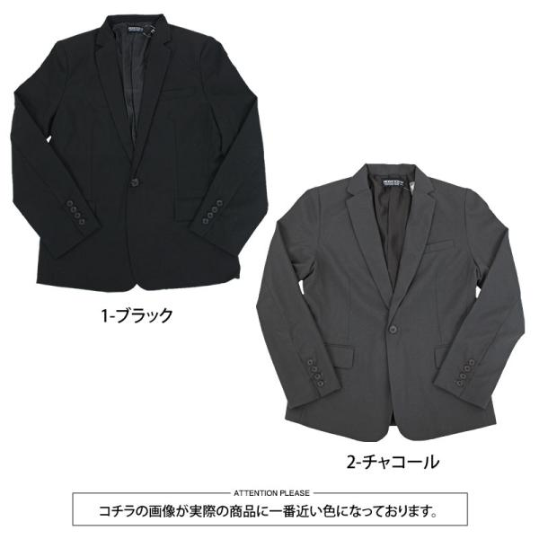 テーラードジャケット メンズ テーラードジャケット 2Bボタン 1B ブレザー 長袖 無地 ブラック 黒 グレー|menscasual|12