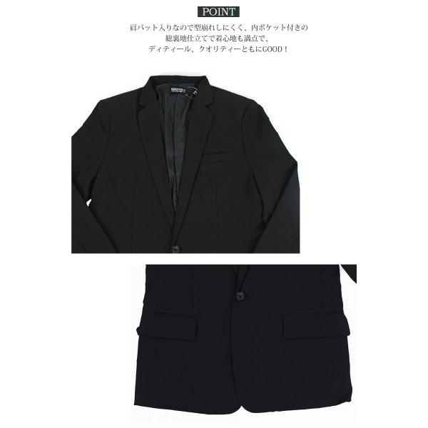 テーラードジャケット メンズ テーラードジャケット 2Bボタン 1B ブレザー 長袖 無地 ブラック 黒 グレー|menscasual|08