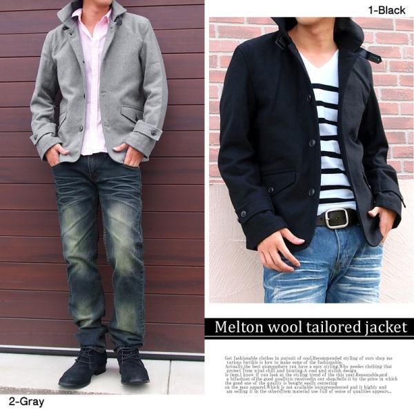 コート メンズ シングルコート ラウンドカラー ピーコート Pコート ジャケット メルトンウール テーラードジャケット 秋冬|menscasual|05