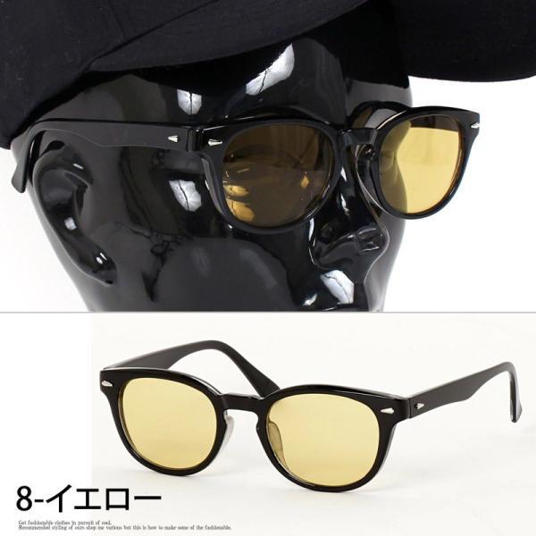 サングラス メンズ カラーレンズ 伊達メガネ 眼鏡 メガネ 伊達めがね 黒ぶち眼鏡 UVカット ウェリントン スモーク ライトカラー おしゃれ 人気 ブルー ブラック menscasual 13