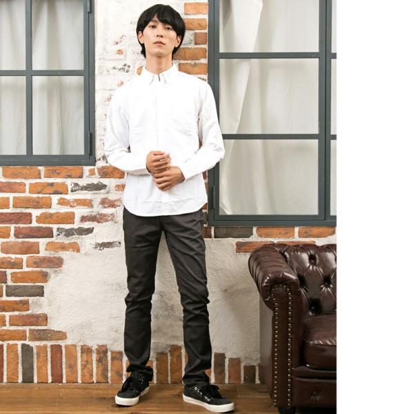 シャツ メンズ 長袖 オックスシャツ 無地 ボタンダウン オックスフォード 白シャツ カジュアルシャツ|menscasual|04
