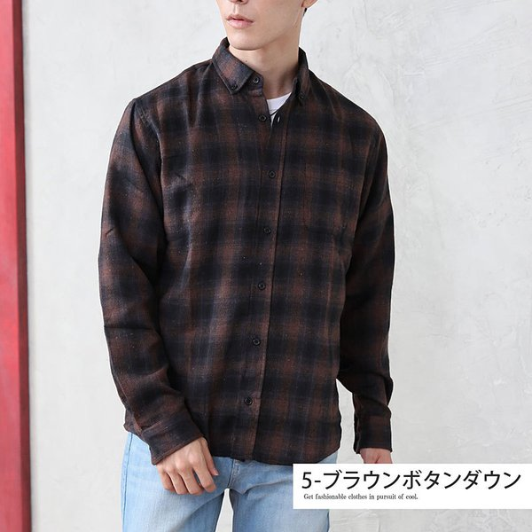 ネルシャツ メンズ 無地 長袖 カジュアルシャツ ストライプ リサイクルコットン 綿 秋冬|menscasual|05