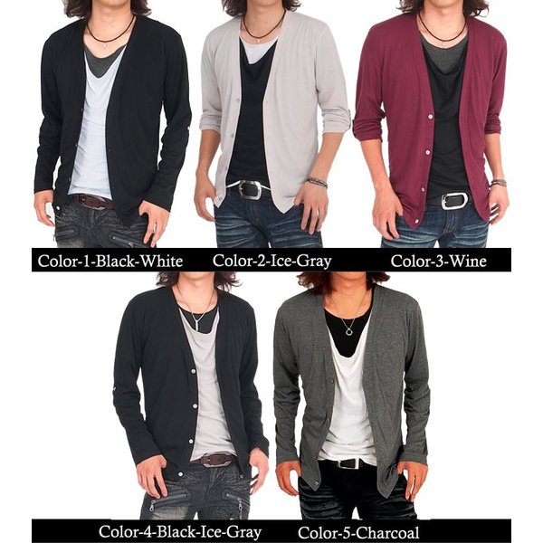 カーディガン メンズ 長袖 7分袖 カットソー 2点セット ドレープTシャツ|menscasual|02