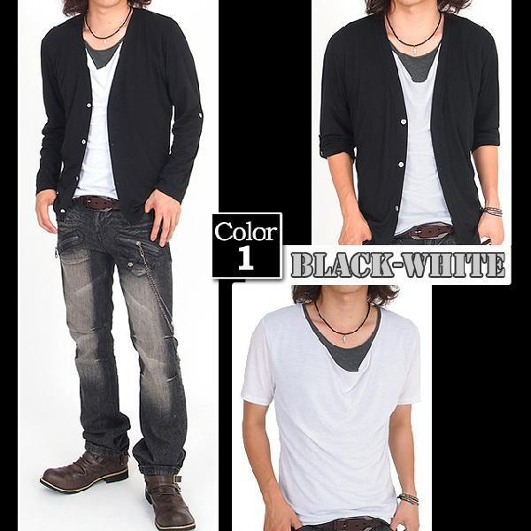 カーディガン メンズ 長袖 7分袖 カットソー 2点セット ドレープTシャツ|menscasual|04