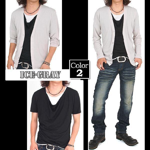 カーディガン メンズ 長袖 7分袖 カットソー 2点セット ドレープTシャツ|menscasual|05