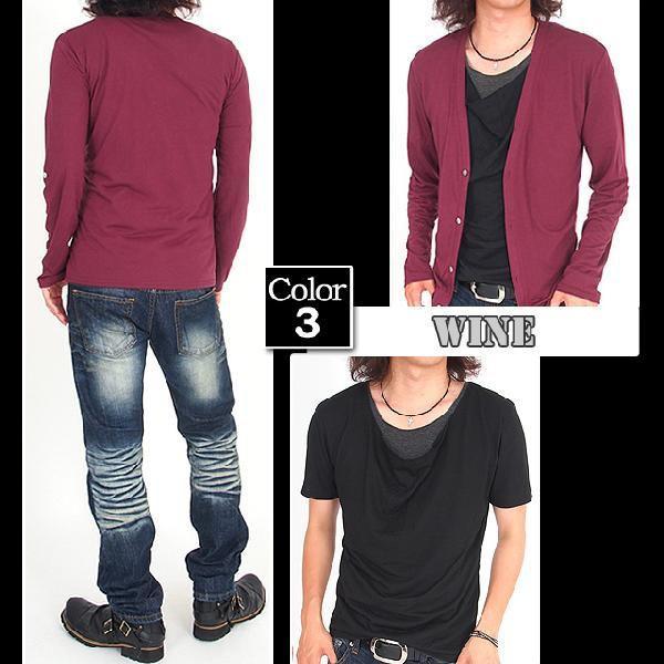 カーディガン メンズ 長袖 7分袖 カットソー 2点セット ドレープTシャツ|menscasual|06