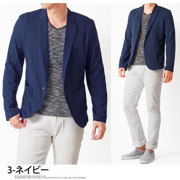 テーラードジャケット メンズ カーディガン 無地 長袖 カットソー 薄手 Tシャツ素材 グレー ブラック 黒 トップス|menscasual|12