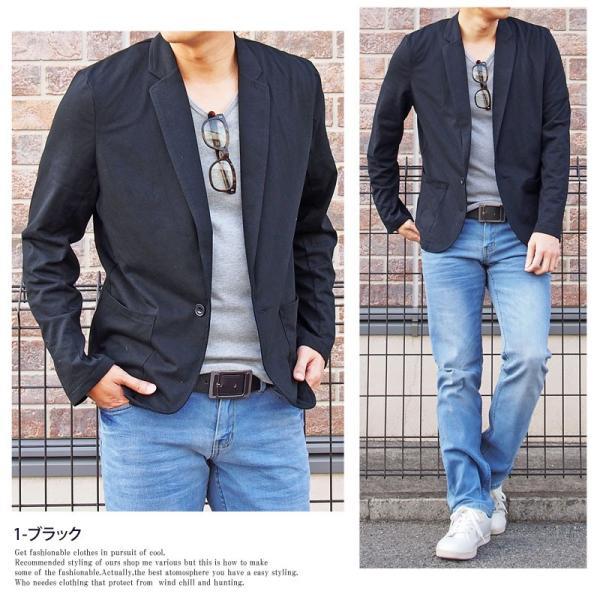 テーラードジャケット メンズ カーディガン 無地 長袖 カットソー 薄手 Tシャツ素材 グレー ブラック 黒 トップス|menscasual|03