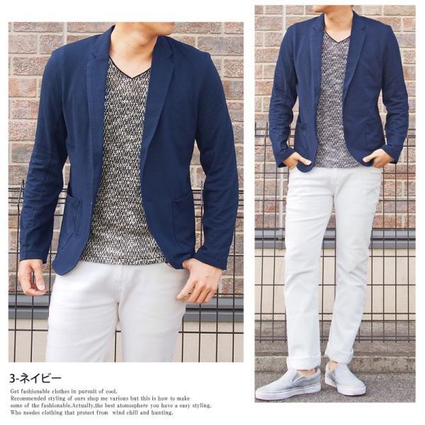 テーラードジャケット メンズ カーディガン 無地 長袖 カットソー 薄手 Tシャツ素材 グレー ブラック 黒 トップス|menscasual|05