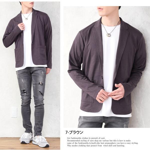 テーラードジャケット メンズ カーディガン 無地 長袖 カットソー 薄手 Tシャツ素材 グレー ブラック 黒 トップス|menscasual|06