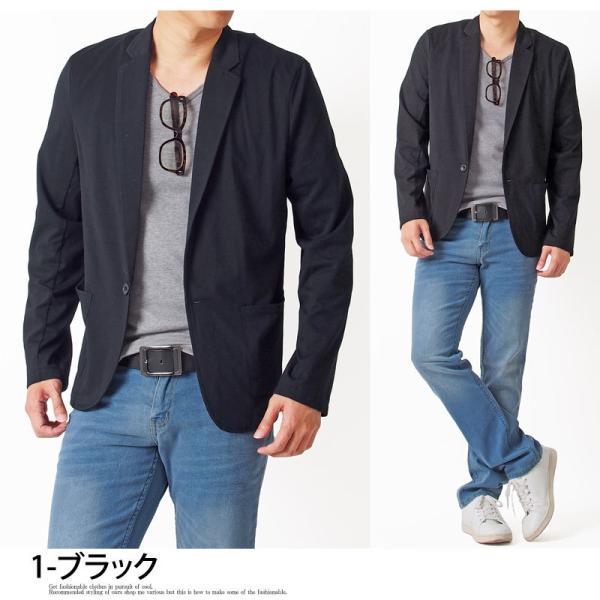 テーラードジャケット メンズ カーディガン 無地 長袖 カットソー 薄手 Tシャツ素材 グレー ブラック 黒 トップス|menscasual|10