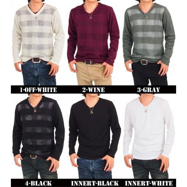 ニット セーター メンズ 2点セット Vネック シースルー編み チェック トップス|menscasual|02
