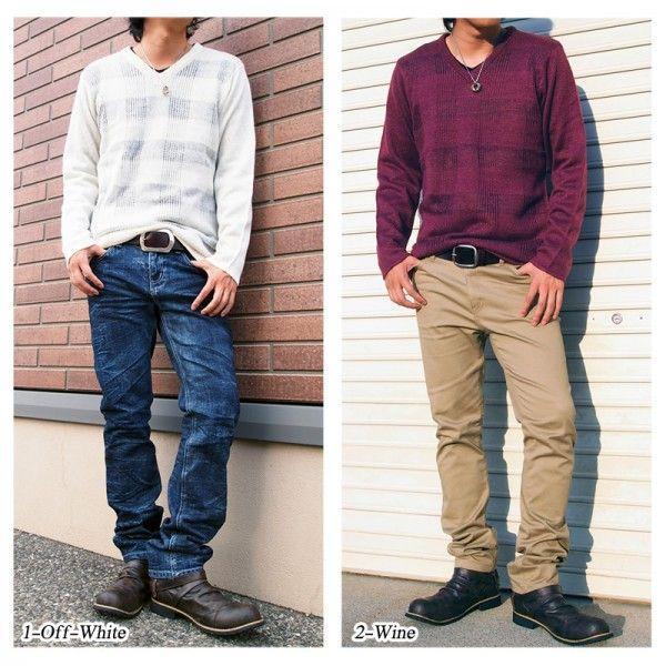 ニット セーター メンズ 2点セット Vネック シースルー編み チェック トップス|menscasual|05