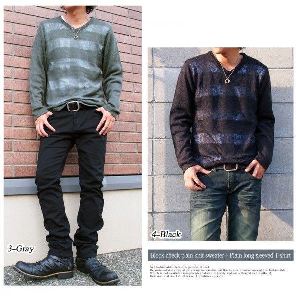 ニット セーター メンズ 2点セット Vネック シースルー編み チェック トップス|menscasual|06