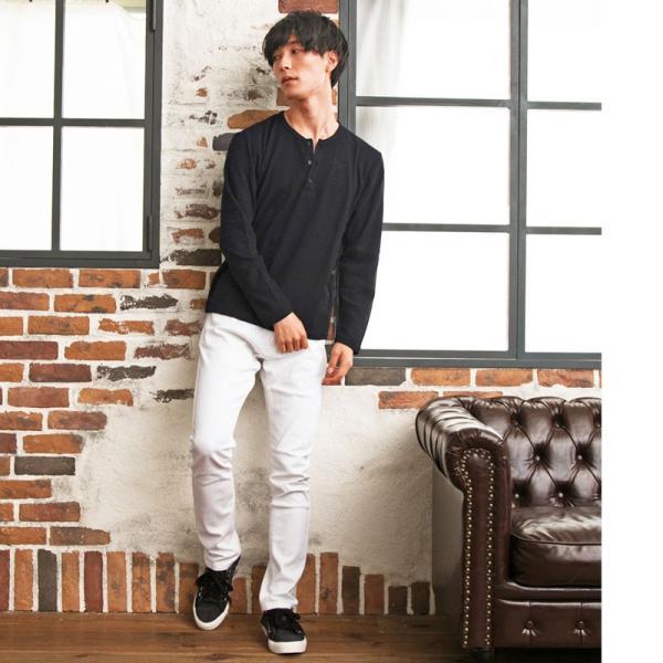 ロンT メンズ Tシャツ 長袖 ヘンリーネック サーマル素材 ワッフル素材 ロングTシャツ 無地 クルーネック ロングTシャツ カットソー トップス|menscasual|06