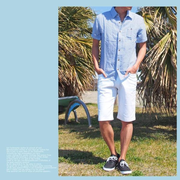 シャツ メンズ 半袖シャツ ボーダー 柄シャツ ストライプシャツ 綿麻 コットンリネン|menscasual|05
