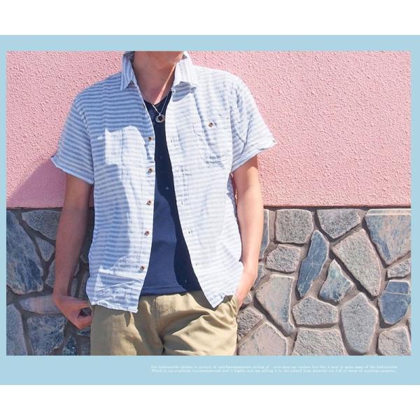 シャツ メンズ 半袖シャツ ボーダー 柄シャツ ストライプシャツ 綿麻 コットンリネン|menscasual|06