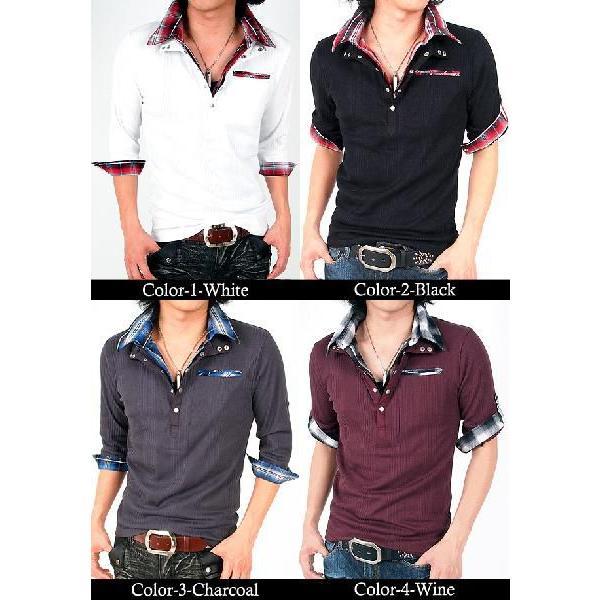 ポロシャツ メンズ 半袖 7分袖 チェック|menscasual|02