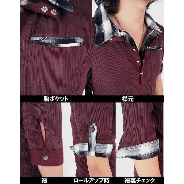 ポロシャツ メンズ 半袖 7分袖 チェック|menscasual|03