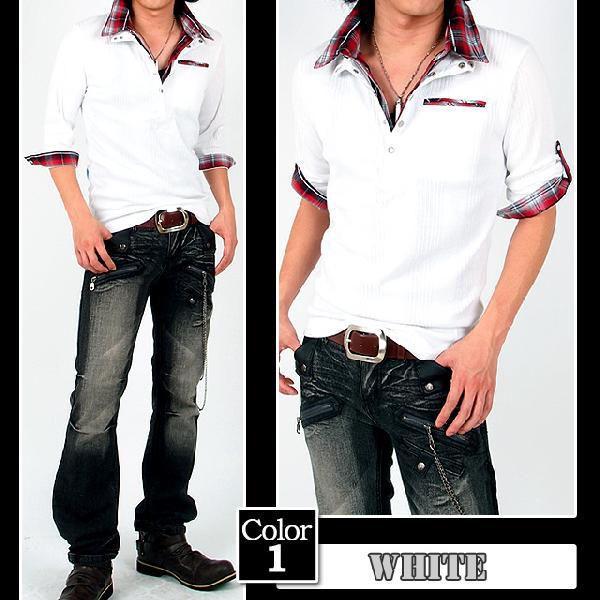 ポロシャツ メンズ 半袖 7分袖 チェック|menscasual|04
