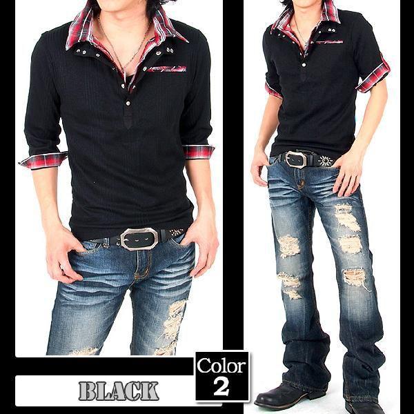ポロシャツ メンズ 半袖 7分袖 チェック|menscasual|05
