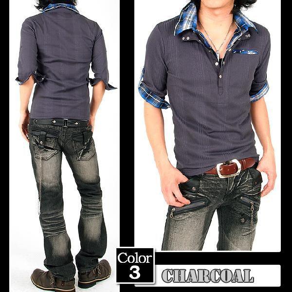 ポロシャツ メンズ 半袖 7分袖 チェック|menscasual|06